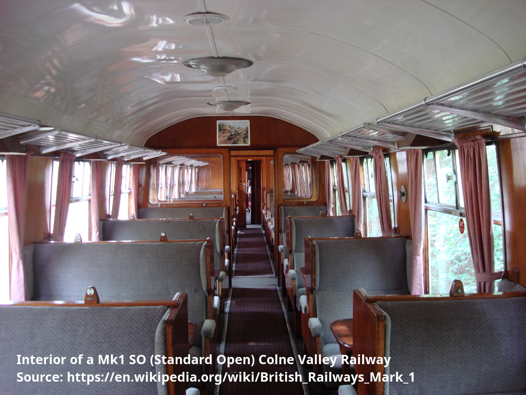 Interior of a Mk1 SO (Standard Open) Colne Valley Railway
