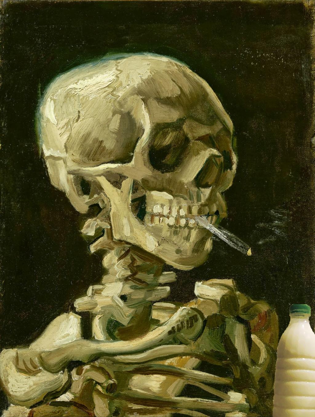 """Il Latte in """"Teschio con sigaretta accesa"""" (1886) di Vincent Van Gogh"""