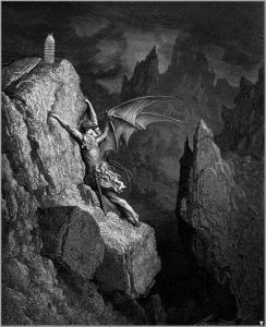 """Il Latte in """"Satan-s-flight-through-chaos Paradise Lost"""" (1868) di Gustave Doré"""