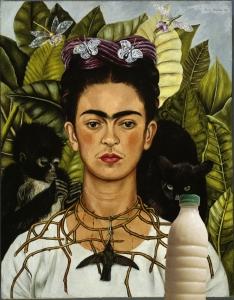 """Il Latte con Frida Kahlo in """"Autoritratto con collana di spine"""", (1940)"""