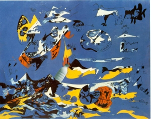 Il Latte in Blue (Moby Dick) c. 1943 di Jackson Pollock