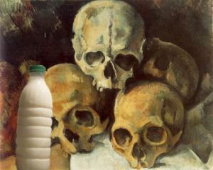 """Il Latte in """"Piramide di teschi"""" (1901) di Paul Cézanne"""
